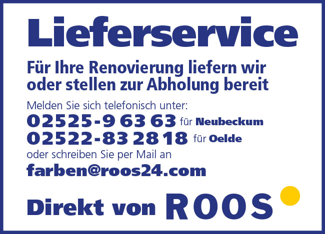 Roos Malerhandel Farben Lieferserivce Neubeckum Beckum Ahlen Oelde Ennigerloh